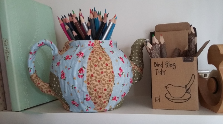 Today I made a teapot pencil holder